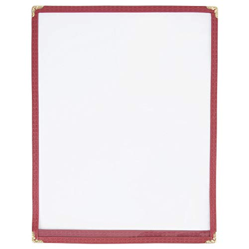 """JR SALES CORP, VAL-A814-BURGUNDY, 25 Pack of Menu Covers, Single Panel, 2 Views, Holds 8.5"""" x 14"""" Inserts, Burgundy Leatherette Trim, Gold Decorative Corners, 10 Gauge Crystal Clear Panels,Restaurant Quality"""