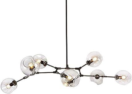 Color : Transparent, Size : 9-Lights Round E27 Industrial Molecule Adjustable Branch Pendant Light with Handblown Glass Chandelier CattleBie Nordic Sputnik Chandeliers