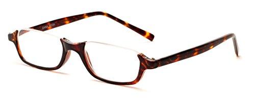Readers.com The Main Street +3.00 Tortoise Half-Rimmed Plastic Frame Rectangle Reading Glasses (Tortoise Half Plastic Frame)