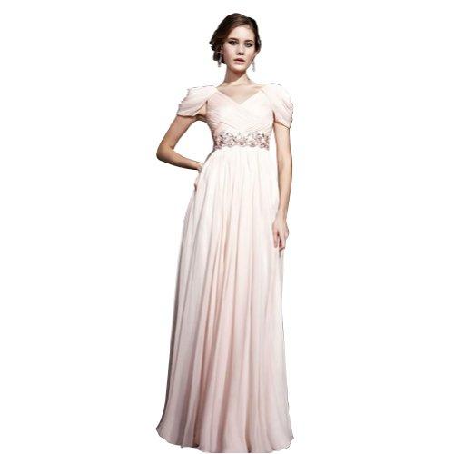 V Mantel Applikationen BRIDE Chiffon bodenlangen Spalte Abendkleid Perlen Weiß mit GEORGE Ausschnitt wxfqgFtt