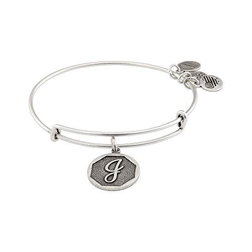 "Alex and Ani Rafaelian Silver-Tone Initial J Expandable Wire Bangle Bracelet, 2.5"""