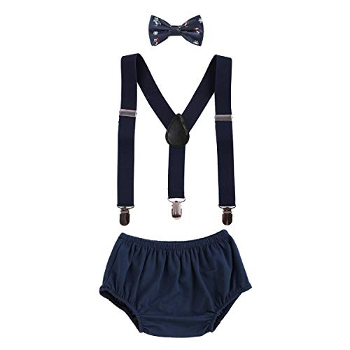 OBEEII Christmas Holiday Party Baby Toddler Boy Cake Smash Outfits Suspender Bottoms Tie Headband Dress Up Fancy Costume Christmas Penguin Navy