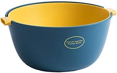 Blue Double Drain Basket Bowl,2 In 1 Multifunction Kitchen Colander Strainer Bowl Set Kitchen Strainer Colander Bowl Sets Practical Drain Basin and Storage Basket for Cleaning Veggies Fruits