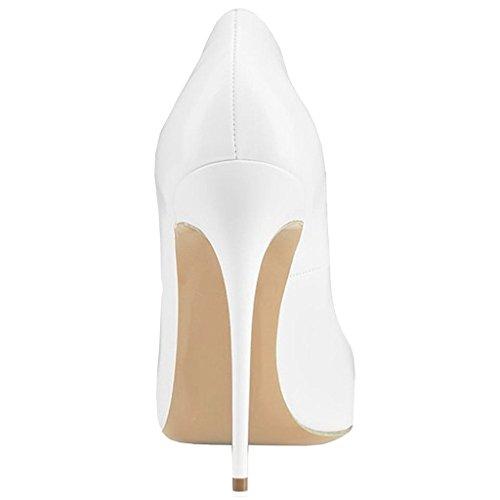 EDEFS Damen Spitze Zehen Süß Herz-geformt Stiletto Pumps Elegant Heel Party Schuhe Weiß