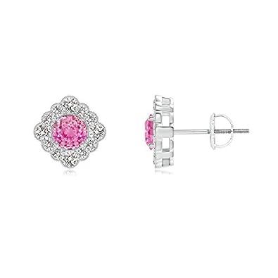 Angara Round Pink Sapphire Flower Stud Earrings with Milgrain fajtNfGU04