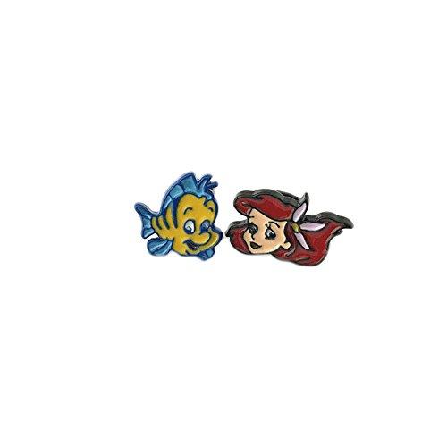 [Disney Movie The Little Mermaid Ariel & Flounder Post Earrings] (Disney Little Mermaid Flounder Costume)