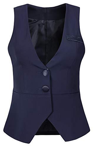 Vocni Women V-Neck Business Slim Fit Skinny Button Down Suit Dressy Vests Waistcoat,Darkblue,US M (Bust 40.15