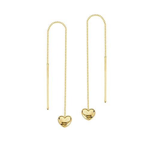 14k Heart Threader Earrings (14K Yellow Gold Puffed Heart Threader Earring)