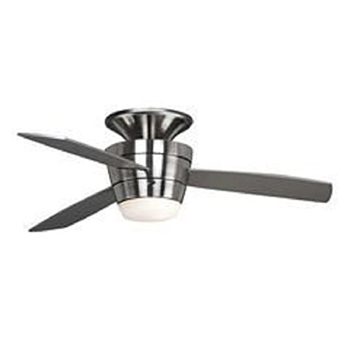Harbor Breeze Mazon 44-in Brushed Nickel Flush Mount Indoor Ceiling Fan with Light Kit and Remote (3-Blade)