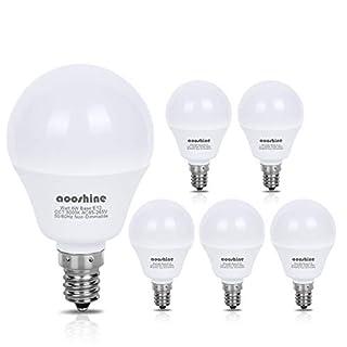 E12 LED Bulb 60W Equivalent, Aooshine 6 Watt LED Candelabra Bulb, Daylight White 5000K Decorative A15 LED Bulbs for Ceiling Fan Non-Dimmable(Pack of 6)