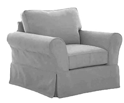 The Cotton Sofa Chair Cover Only Fits Pottery Barn PB Comfort Roll Arm Chair Or Armchair. A Durable Slipcover Replacement (L Gray Box Edge) (Barn Couch Covers Pottery)