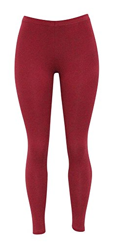 Solid Stretch Cotton (Jescakoo Ladies Flex-Pants Slim Fit Cotton Spandex Autumn Solid Ankle Leggings Wine Red L)