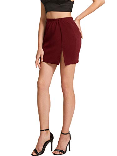 Floerns Women's Plaid Bodycon Split Mini Skirt