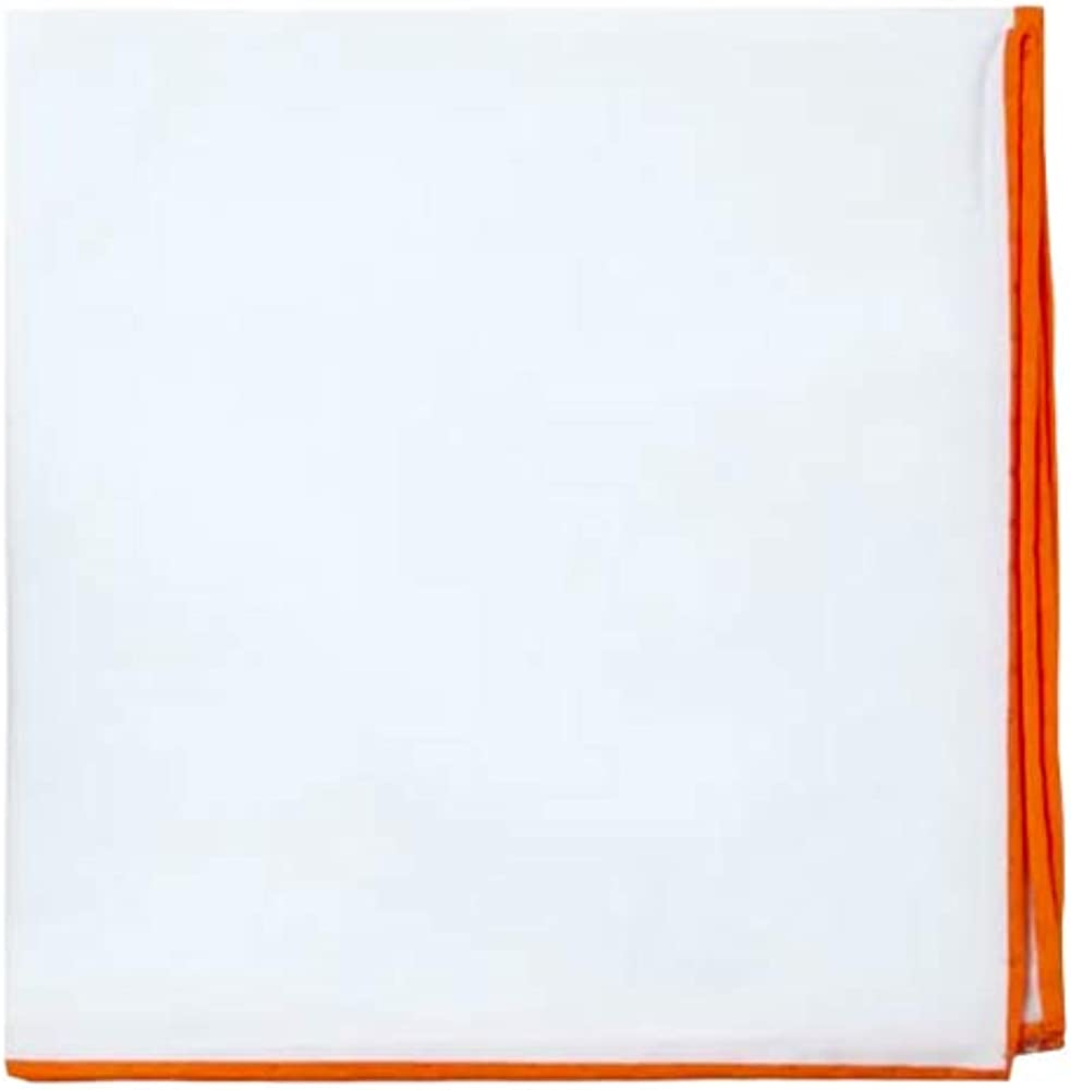 D&L Menswear White Cotton Pocket Square with Orange Embroidered Edge, Large