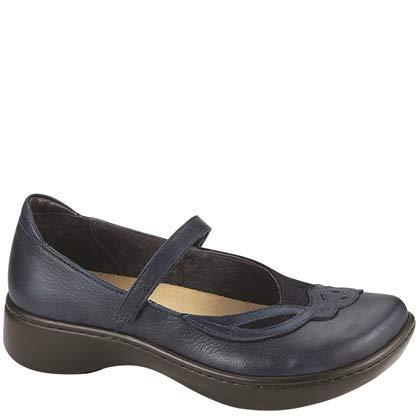 NAOT Footwear Women's Bluegill Maryjane Flat Ink Lthr/Blue Velvet Suede/Polar Sea Lthr 9 M US