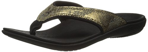 Yumi Fashion - Spenco Women's Yumi Python Flip Flop, Gold, 7 M US