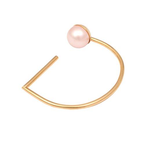 Leivankash Bracelet Plaqué Or Ronde Perle Rose Femme