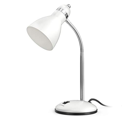 LEPOWER Metal Desk Lamp, Adjustable Goose Neck Table Lamp, Eye-Caring Study Desk Lamps for Bedroom, Study Room and Office (White)