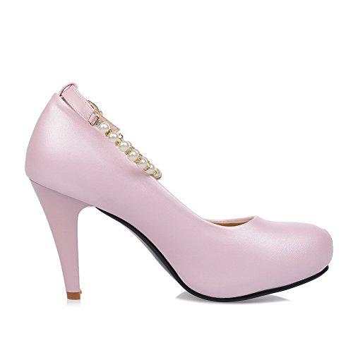 Balamasa Dames Kraal Metaal Ornament Enkel Manchet Geïmiteerd Lederen Pumps-schoenen Roze