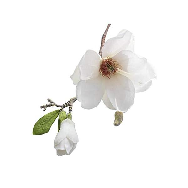 Zalin Artificial Magnolia Silk Fake Flower Branch Arrange Table Wedding Home Decor Party Accessory,A