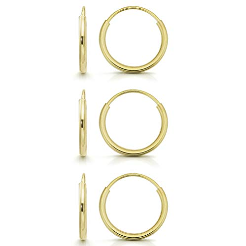 (14k Gold Endless Hoop Earrings, Size 10mm - 20mm and 3-Piece Sets, Small Yellow 1mm Thin for Women and Men Ear Nose Cartilage Helix Tragus Lip, by Giorgio Bergamo (10mmSet))