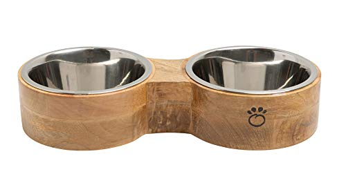 Brave Bark Figure 8 Feeder – Premium Mango Wood Double Feeder, 2 Stainless Steel Bowls for Food or Water Included, Perfect for Dogs, Cats and Pets of Any Size, Great for Home or Office