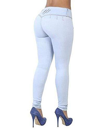 Botón Mujeres Delantero Cintura Hellblau Flaco Pantalones Color De Casual Lápiz Jeans Mezclilla Battercake Casuales Sólido Las Estiramiento Alta 61cwCPq