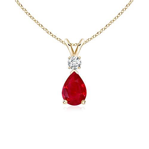 Ruby Teardrop Pendant with Diamond in 14K Yellow Gold (7x5mm Ruby)