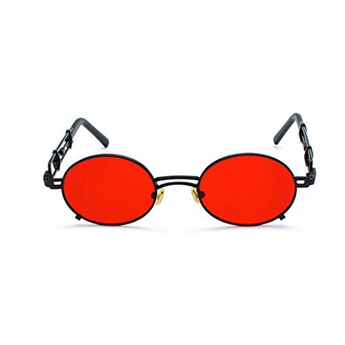 Tono de Hombres metal de de Espejo Rojo sol Negro recubrimiento Gafas y sol Inlefen gafas de mujeres de marco Circular de Gafas Gafas vUOtwxnqWH