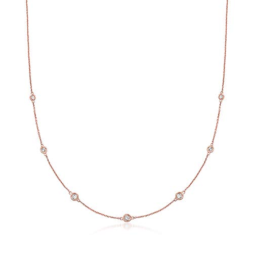 Ross-Simons 0.33 ct. t.w. Graduated Bezel-Set Diamond Station Necklace in 14kt Rose Gold ()