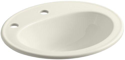 (KOHLER K-2196-1F-96 Pennington Self-Rimming Bathroom Sink with Single-Hole Faucet Drilling, Left-Hand Soap/Lotion Dispenser Hole Drilling and Sealed Overflow, Biscuit)