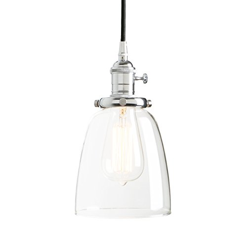 Permo Vintage Incandescent One Light Pendant Mini Cone Clear Glass Ceiling Hanging Lamp Fixture 1-light (Chrome)