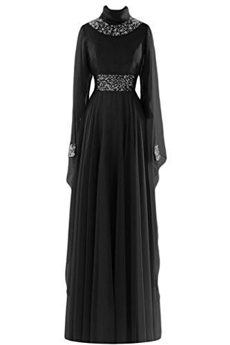 sunvary a-line de manga larga cuello alto vestido de novia Vestidos de novia negro