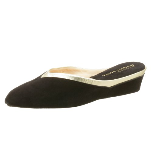 Jacques Levine Women's 4640 Throat Collar Scuff Slipper,Black/Gold,7 M by Jacques Levine