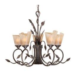 Vaxcel USA CP-CHB006BW, Capri 6 Light Botanical Chandelier Lighting Fixture, Bronze, Glass, B2828