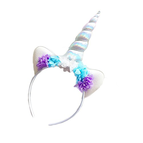 For Costumes Up Dressing Adults (Mwfus Flower Unicorn Horn Cat Ears Headdress Party Decorative Hairband)