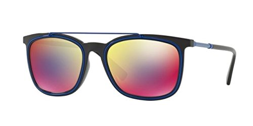 Versace  Men's VE4335 Black/Dark Grey Mirror Blue/Red - Versace Sunglasses Pink