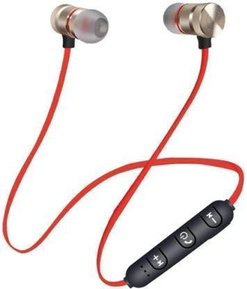 EasyShopping Wireless Sports Bluetooth Magnet Earphone Hands Free Headphone for All Smartphone  red
