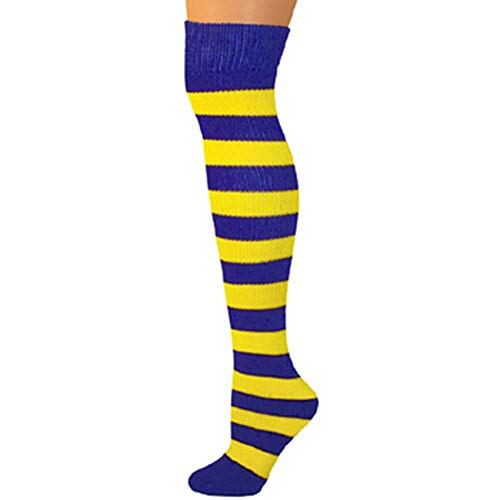 AJs Adult Knee High Striped Socks - Blue/Lemon