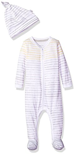 Burt's Bees Baby - Unisex Baby Romper and Hat Set, One Piece Jumpsuit and Beanie Set, 100% Organic Cotton, Fog Watercolor Stripe, 3-6 Months