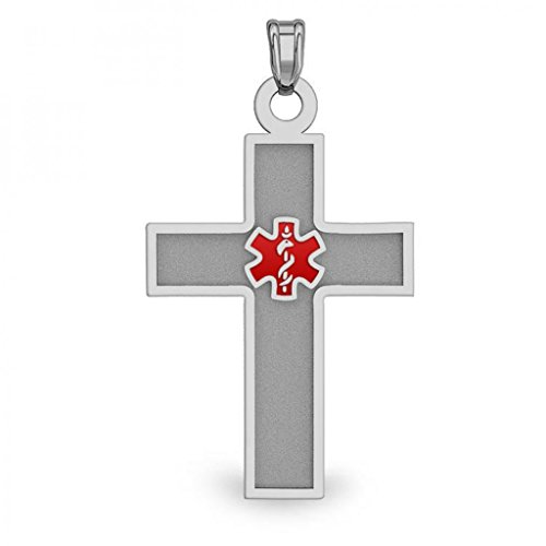 Stainless Steel Medical ID Cross with Red Enamel - Approx. 3/4 Inch X 1 Inch