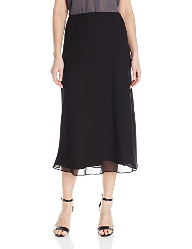 Alex Evenings Women's Tea Length Georgette A-line Skirt, Black, S