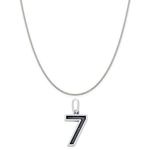 Number 7 Sterling Silver Charm - LavaFashion Sterling Silver Oxidized Number Seven Charm Necklace on an 18 inch Box Chain