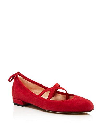 Stuart Weitzman Womens Bolshoi Ballet Plat, Rood Suede, 7.5 B (m) Ons