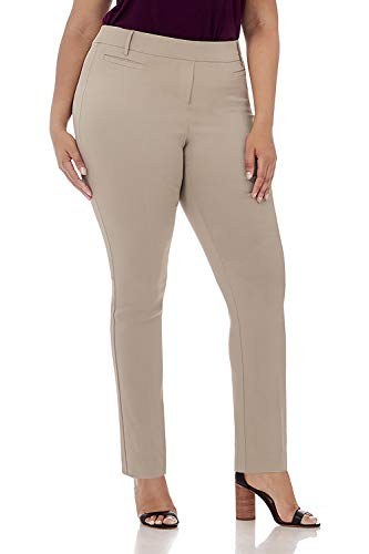Rekucci Curvy Woman Ease in to Comfort Straight Leg Plus Size Pant w/Tummy Control (22W,Stone)