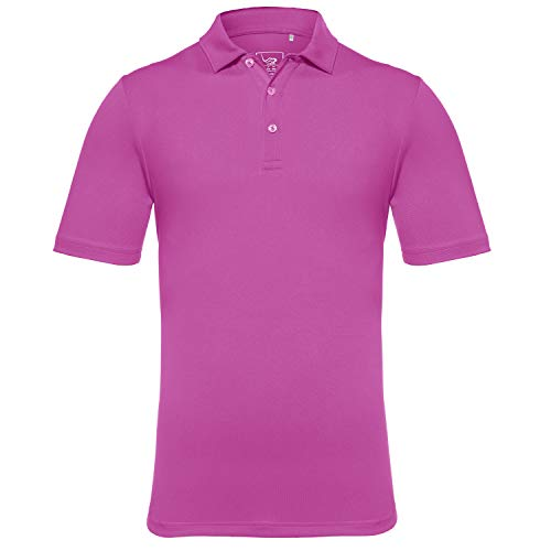 EAGEGOF Men's Regular Fit Golf Polo Shirt Short Sleeve Stretch Quick Dry Performance Polo(Purple, - Polyester Shirt S/s