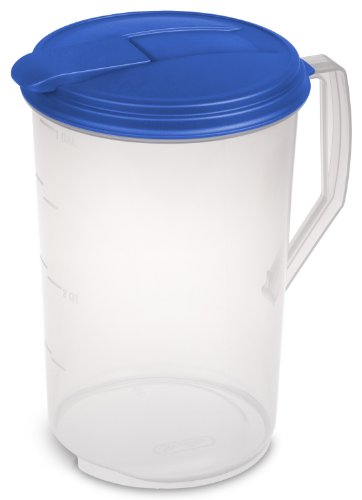 Sterilite 04884106 1 Gallon Round Pitcher, Blue Sky Lid & Tab with See-Through Base, 6-Pack Sky Blue Pitcher