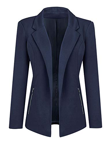Luyeess Women Navy Blue Casual Long Sleeve Open Front Cardigan Office Work Zip Blazer Suit Medium (Fits US 8 - US 10)