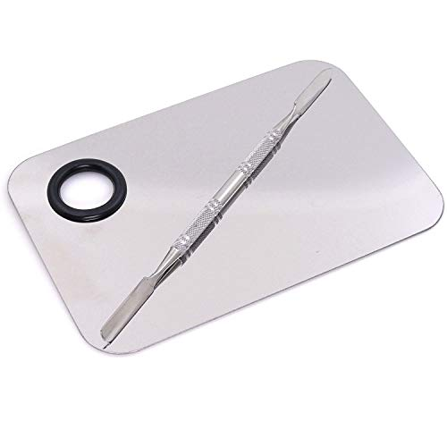 Angelie Stainless Steel Womens Professional Cosmetic Makeup Mixing Plate with Spatula Tool (Silver)