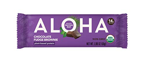 ALOHA Organic Plant Based Protein Bar, Chocolate Fudge Brownie, 1.9 oz, 12 Count, Vegan, Gluten Free, Non-GMO, Stevia Free, Soy Free, Dairy ()
